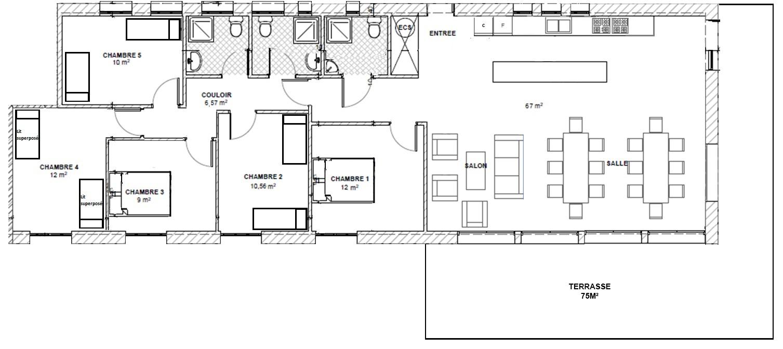 Plan gîte 12 personnes n1058